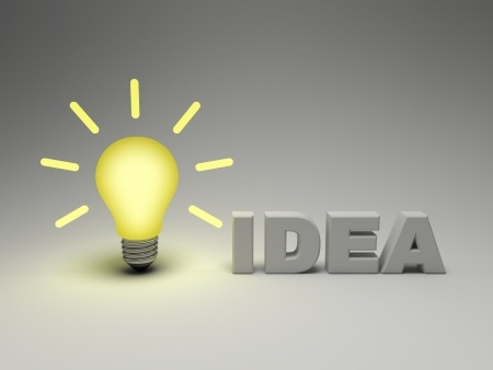 14033201 - bright idea concept, glowing lightbulb with word idea on grey background
