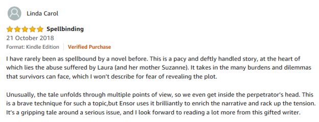 Amazon verified review 27 October 18 - spellbinding