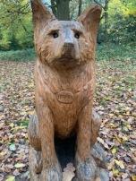 Wooden sculpture of a dog